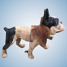 Rare Antique 19 th century Growling French Bull Dog Pull Toy Automaton Paper Mache