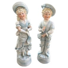 Rare Antique girl and boy Bisque statue