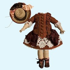Nice dress, socks, shoes and hat for French bisque doll
