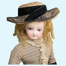 Rare French fashion jumeau bisque doll almond eyes 18 inches