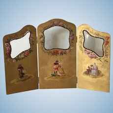 Rare Antique screen for fashion doll 1870 years