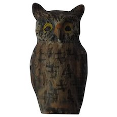 Antique Austrian Miniature Cold Painted Bronze of a Great Horned Owl-Austria Hallmark