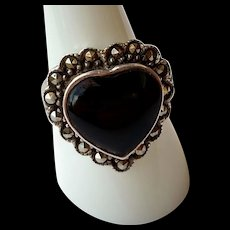 Sweet Sterling Silver & Black Onyx Heart Shaped Ring - Artisan Hallmark SU - Size 8.5