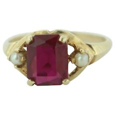 Vintage 14K Yellow Gold Weinman Brothers (WB) 1c Ruby & Seed Pearl Ring-Size 5.5