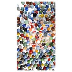 """GRAB BAG Lot of 2 Pounds Old Glass Multi Color 5/8"""" Marbles - Swirls, Cats Eye & More"""