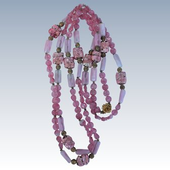 "In Shades of Pink - 50"" Glass Bead Necklace w/Rose Flower Closure"