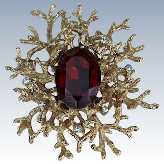 "Unsigned 2 3/4"" Gold Tone Brutalist Tree Limb Pin/Pendant with Faux Red Ruby & Rhinestones"