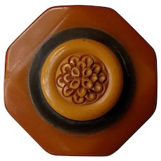 Vintage/Unique Pin Made from Bakelite Belt Buckle & Button in Buttery Butterscotch - Signed SCP