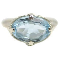Vintage 1920s Art Deco 18K White Gold and 3.47 Carat Blue Aquamarine Filigree Oval Faceted Ring Size 6.5