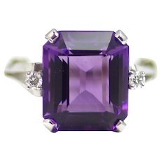 Vintage 1990s Purple Amethyst, Diamond and 14K White Gold Three Stone Large Cocktail Statement Ring Size 8.5