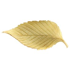 Vintage 1980s TIFFANY AND CO. 18K Yellow Gold Matte Brushed Leaf Foliate Brooch with Original Pouch