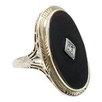 Vintage 1920s Art Deco 14K White Gold, Onyx, and Diamond Filigree Small Pinky Ring Size 5