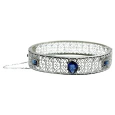 """Vintage 1920s Art Deco Silver Plate and Blue Glass Filigree Lace Safety Chain 7"""" Flapper Hinged Bangle Bracelet"""