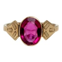 Vintage 1920s Art Deco Ruby Colored Glass and 9K Rose Gold Ring Etched Geometric Bezel Size 5.75