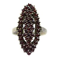 Vintage 1960s Czech Bohemian Red Rose Cut Pyrope Garnet and 900 Silver Gilt Long Marquise Navette Statement Ring Size 7.5