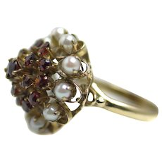 Vintage 1930s 9K Yellow Gold, Pyrope Garnet and Cultured Pearl Thai Princess Large Statement Cocktail Cluster Ring Size 6