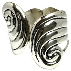 Vintage 1970s TAXCO Sterling Silver Mexican Aztec Design Swirled Hinged Large Statement Cuff Bracelet
