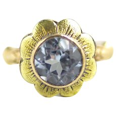 Vintage 1940s Retro Art Deco 10k Yellow Gold and 1.14 Carat Synthetic Violet Spinel Flower Pinky Ring Size 4.25