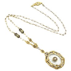 "Vintage 1920s Art Deco Camphor Starburst Glass, Rhinestone, Enamel and Imitation Pearl Gold Plate Floral Choker 17"" Necklace"