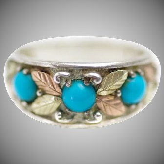 Vintage 1990s COLEMAN CO. Black Hills Gold Blue Chrysocolla in Chalcedony, Sterling and 12K Gold Leaf Fall Thick Band Ring Size 10