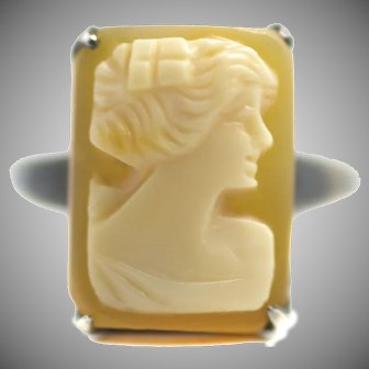 Vintage 1940s Hand Carved Shell Cameo and Sterling Silver Statement Ring Size 6.5