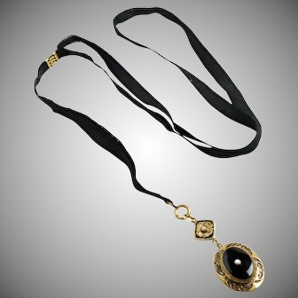 """Vintage 1930s Victorian Revival Black Plastic, Seed Pearl, Enamel, Brass and Ribbon Long Lariat Adjustable 34"""" Necklace"""
