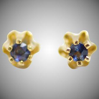Vintage 1960s Blue Sapphire and 14 Karat Yellow Gold 0.06 Carat Buttercup Pierced Stud Earrings