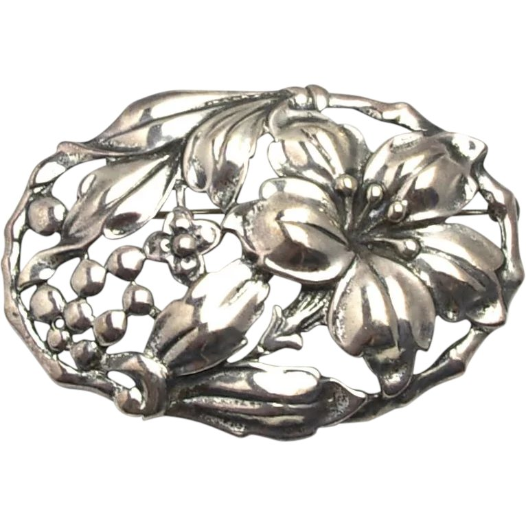 Danecraft Sterling Calla Lilly Pin Art Nouveau Brooch Vintage Silver Floral Botanical Jewelry