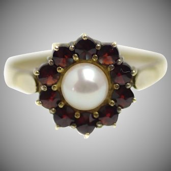 Vintage 1980s Red Pyrope Garnet and Cultured Japanese Akoya Pearl Halo Flower Gold Wash Over Sterling Ring Size 8