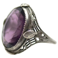 Vintage 1920s Art Deco Purple Amethyst Faceted Glass and Sterling Silver Filigree Ring Size 7