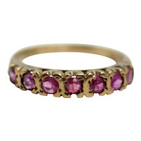 Vintage 1936 Sheffield 0.34 Carat Ruby and 9 Karat Yellow Gold Anniversary Band Ring Size 4.25