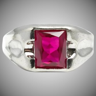 Vintage 1950s ESPO Synthetic Ruby and Sterling Silver 3.99 Carat Large  Statement Ring Size 11.5