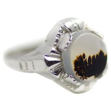 Vintage 1930s CLARK AND COOMBS Art Deco Sterling Silver and Landscape Agate Rhodium Plated Pinky Ring Size 4.5