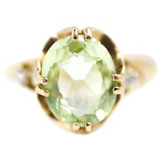 Vintage 1940s Diamond, 10K Yellow Gold and Faceted Green Glass Ring Size 6