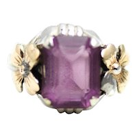 Vintage 1920s Art Deco Purple Glass, Sterling Silver and 14K Gold Plate Primrose Flower Ring Size 5.5 AS IS
