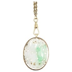 Vintage 1930s Carved Green Moss in Snow Jadeite Jade and 14K Rose Gold Pin/Pendant Brooch Necklace Combo Leaf Leaves