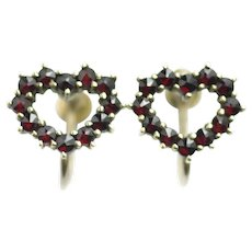 Antique 1900s Edwardian Bohemian Garnet and 900 Silver Gold Wash Heart Screw Back Non-Pierced Earrings