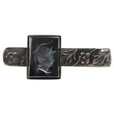 Vintage 1960s Hematite Soldier Intaglio and Flower Sterling Silver Tie Bar Clip