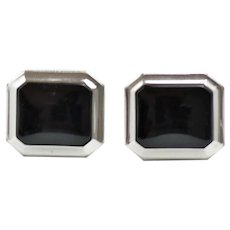 Vintage 1960s ANSON Black Onyx and Silver Tone Cufflinks