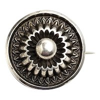 Antique 1880s Mid Victorian Grand Period Sterling Silver Mourning Pin Brooch
