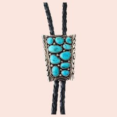 Vintage 1970s Blue Turquoise, Sterling Silver and Black Leather Cord Southwestern Bolo Tie