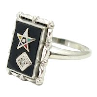Vintage 1940s Retro Art Deco Order of the Eastern Star Masonic Onyx, Diamond, Enamel and 10K White Gold Ring Size 6.5