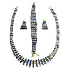 Vintage 1970s Lapis Lazuli and Gold Washed Sterling Silver Necklace, Earrings, and Bracelet Demi Parure Set