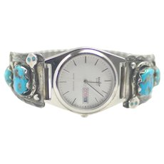 "Vintage 1980s EFFIE Calavaza Zuni Native American Blue Turquoise and Sterling Silver Snake 8"" Watch"