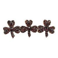Antique 1910s Edwardian Bohemian Garnet Rose Cut Three Leaf Clover Luck Pin Brooch