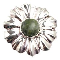 Vintage 1990s Green Connemara Marble and Sterling Silver Floral Flower Brooch Pendant Pin/Pendant Combo