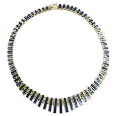 """Vintage 1970s Lapis Lazuli and Gold Wash Sterling Silver Collar Bib 18"""" Necklace"""