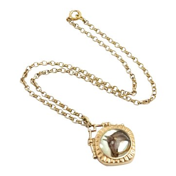 """Antique 1890s Late Victorian Horse, Carnelian, Essex Rock Crystal, and Gold Filled Fob Pendant Choker 16"""" Necklace"""