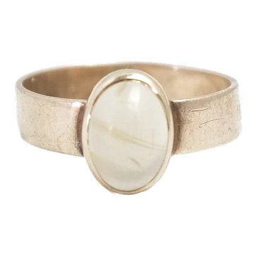 Antique 1890s Late Victorian White Banded Agate and 10K Rose Gold Solitaire Cabochon Ring Size 7
