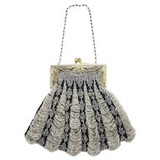 Antique 1910s Art Nouveau Silver Glass Bead and Black Fabric Scalloped Brass Evening Flapper Handbag Purse AS-IS